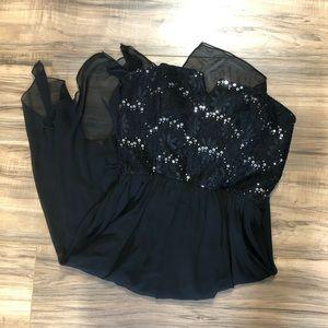 Strapless Black Flow Skirt Dress